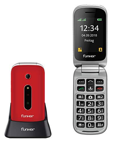 Teléfono Móvil Funker C75 Rojo Easy Comfort con Tapa para Personas Mayores con botón SOS y Base cargadora.