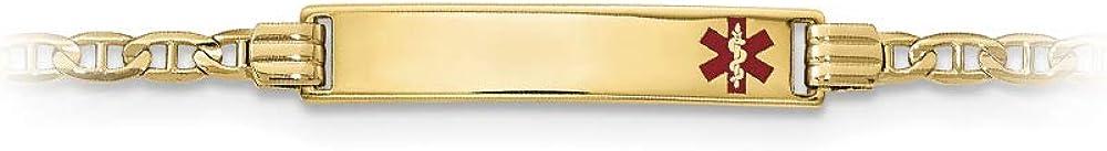 14k Yellow Gold Medical Red Enamel Anchor ID Bracelet