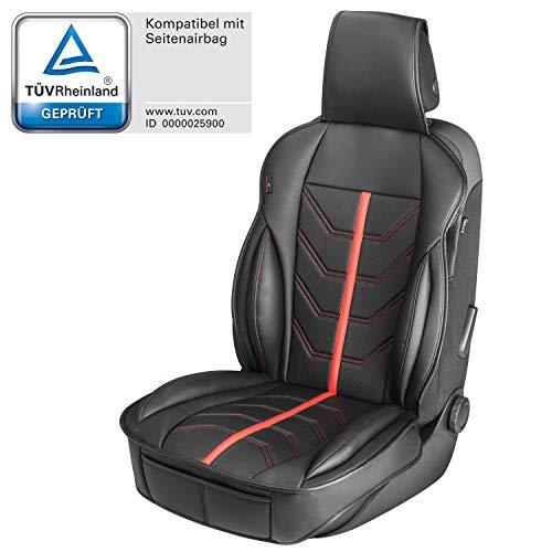 Walser 13989 Autositzauflage Kimi, Universelle Sitzauflage und Schutzunterlage in Rot - Schwarz, Sitzschoner für Pkw und LKW in Rennsportoptik
