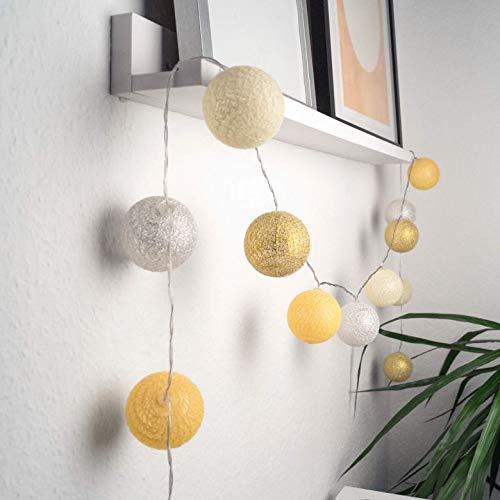 LED Lichterkette aus 20 Baumwollkugeln 3 meter Kugeln Kette Cotton Balls Bälle Kinderzimmer Stimmungslicht (Gelb, 3 meter)