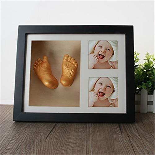 Dltmysh Footprint Kit & Handprint Kit 3D Hand Foot Mold Print Photo Frame DIY Plaster Casting Kit Handprint Footprint Memorial Grow Record Souvenir (Color : Black)