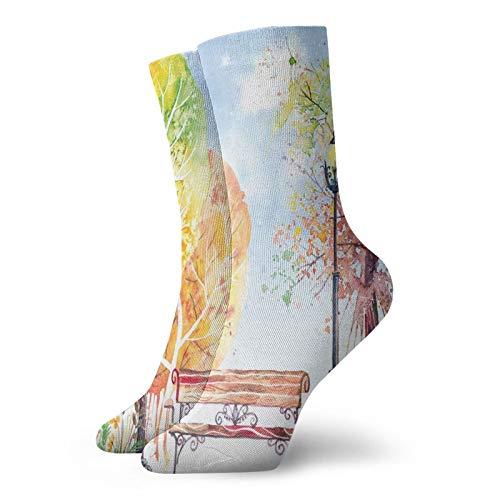Calcetines suaves a mediados de la pantorrilla, dibujados a mano, arbustos y farolas, arte de la naturaleza, calcetines para mujeres y hombres, ideales para correr