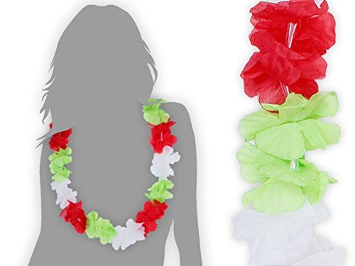 Alsino Collana Hawaiana HK-13 Verde Bianco Rosso Italia Tessile Colore Hawai Hawaii Fiore Accessori Decorazione Beach Party Festa Tropicale Estate Tifosi Ultra Anniversario Calcio Europei mondiali