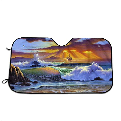 UQ Galaxy Parasol De Coche,Sombrilla De Parabrisas De Pintura De Arte De Playa De Mar, Sombrillas De Vehículo Únicas para SUV De Vehículos Automotrices,76x140cm