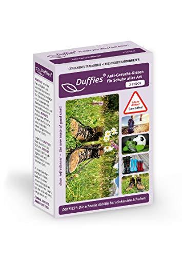 Anti-Geruchsbeutel für Schuhe und Taschen, beseitigt Gerüche in Schuhen, Turnschuhen & Sporttaschen, mit Bambus-Aktivkohle, Luftreinigungsbeutel, tolles Design, Duffies (2 x 150g) (Wanderschuhe)