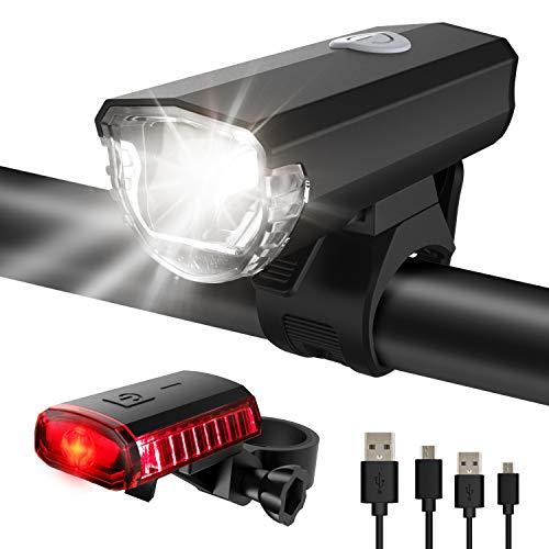ITSHINY Fahrradlicht - Fahrradlicht USB Aufladbar, StVZO Zulassung Fahrradlampe Aus Aluminium LED, Fahrradbeleuchtung Set Wasserdicht 2 Licht-Modi Frontlicht und Rücklicht Set