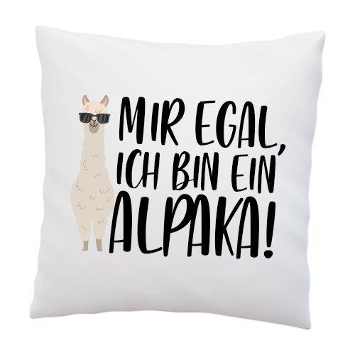 Liebtastisch - Kissen mit Spruch ''Mir egal, ich Bin EIN Alpaka!'' - Deko-Kissen - weiß 40cm x 40cm - Alpaka - Lama - Trend