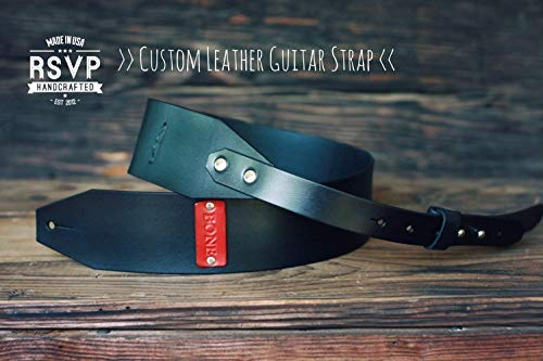 Custom Leather Guitar Strap, Acoustic, Electric, Bass, Dobro, Banjo, Adjustable, Handmade personalized gift, Mustache, Customize name, initials -  RSVPhandcrafted