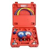 WINMAX TOOLS AUTOMOTIVE Professional A/C Air Conditioner Refrigerant Manifold Gauge Kit Set R134a/R22/R12 HVAC + KapscoMoto Keychain