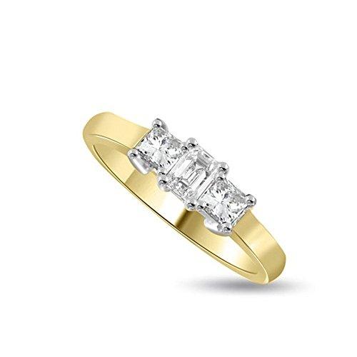0.75ct G/SI1 Diamante Trilogy Anello da Donna con Smeraldo & Princess diamanti in 18kt Oro Bianco e Giallo