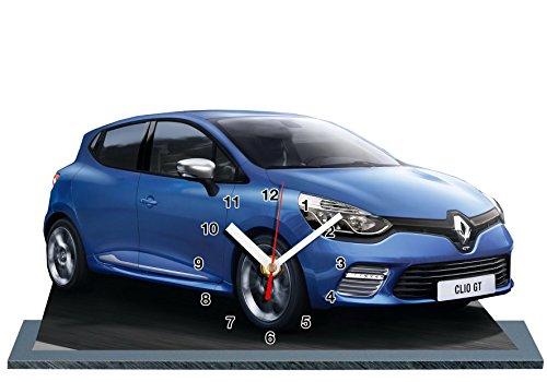 Auto Renault Clio Sport blau in Uhr Miniatur auf Sockel 06