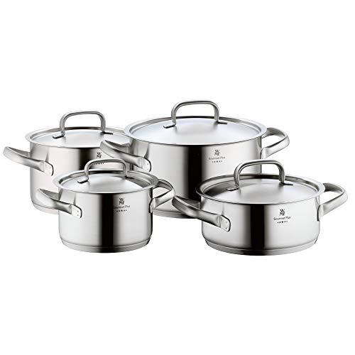 WMF Gourmet Plus Topfset Induktion 4-teilig, Cromargan Edelstahl mattiert, Töpfe mit Metalldeckel, Induktionstöpfe, Innenskalierung, Dampföffnung
