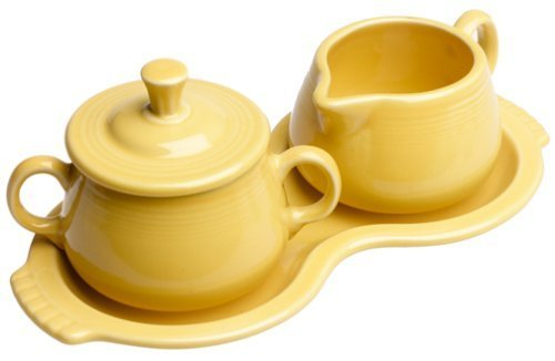 Homer Laughlin - Set zuccheriera e lattiera con vassoio, motivo: girasole