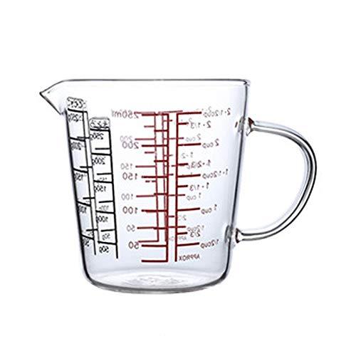 Domilay 250 Ml Vaso Medidor de Vidrio Jarra de Leche Vaso de Vidrio Resistente Al Calor Jarra Medidora Vaso de Escamas Creamer Té Café Microondas Seguro