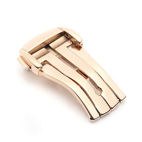 ExcLent 16Mm/18Mm/20Mm Acero Reloj Plegable Broche Botón Hebilla Para Omega De Ville - Rose Gold - 18mm