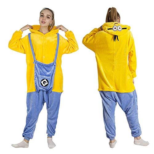 All in One Winter Warm Pyjama Cartoon Einhorn Einteiler Kapuze Nachtwäsche Tier Pyjama für Frauen Gr. X-Large, Minions Pyjama