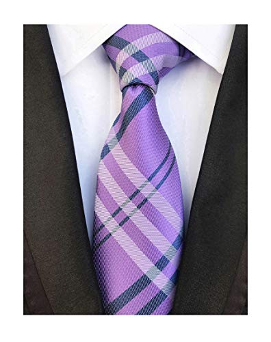 Lilac Purple Navy Gingham Seft Tie Woven Narrow Party Cool Necktie 3.15' for Men