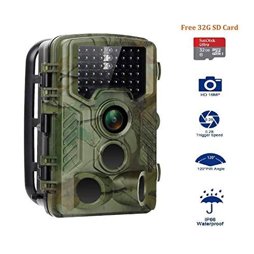 Aorula Cámara de Caza 16MP 1080P Cámara de vigilància de la Vida Silvestre,46 LED de IR Invisible 2.4 \'\' LCD Visión Nocturna hasta 20m,Lapso de Tiempo,Temporizador,Diseño Impermeable IP66
