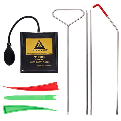 tunfo 8 Pack Full Professional Automotive Essential Tool Kit with Long Reach Grabber, Air Wedge, Non Marring Wedges and PVC Bag