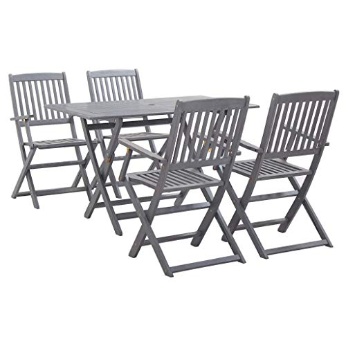 vidaXL 5 Piece Solid Acacia Wood Garden Dining Set Easy Clean Outdoor Folding Table Chair Grey Patio Furniture
