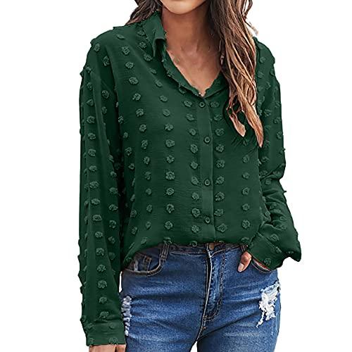 Camisa bsica para mujer, de jacquard, con botones, con solapa, de manga larga, elegante, monocolor, cuello en V, holgada, para primavera y otoo, de gran tamao, informal, de manga larga, verde, XXL