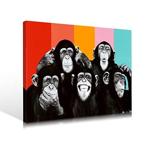 アートパネル バンクシー Banksy モダンアート チンパンジー グラフィティ キャンバス絵画 動物 ポスター 北欧 アートフレーム ポスター 壁掛け 壁飾り(フレーム付きの完成品) (A, 30cmX40cmX1pcs)