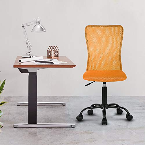 Office Chair Desk Chair Computer Chair with Lumbar Support Ergonomic Mid Back Mesh Adjustable Height Swivel Chair Armless Modern Task Executive Chair for Women Men Adult,Orange