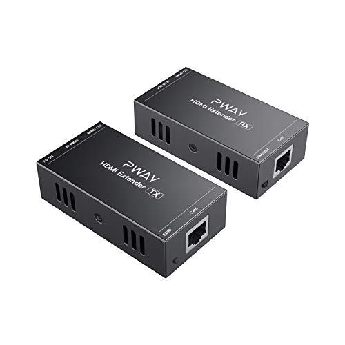 PW-HT202P(POC) HDMI Extender Extensor 165ft/50m Sin Comprimir Solo Cat6 Transmision sobre Soporte De Full HD 1080P 3D EDID uno Power Supply (UTP+RJ45+Transmisor+Receptor)