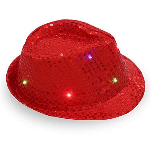 Niños Adultos Brillo LED Flash Lentejuelas Jazz Sombreros Fedora Sombrero Gorra Neon Party Show Dance Cumpleaños Boda Club Noche - rojo - Large