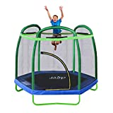 Clevr 7ft Kids Trampoline with Safety Enclosure Net & Spring Pad, Mini Indoor/Outdoor Round Bounce Jumper 84', Built-in Zipper Heavy Duty Steel Frame,Green/Blue