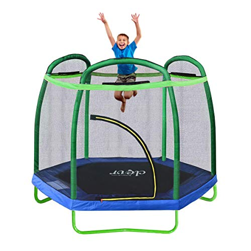 Clevr 7ft Kids Trampoline with Safety Enclosure Net & Spring Pad, Mini Indoor/Outdoor Round Bounce Jumper 84', Built-in Zipper Heavy Duty Steel Frame,Green/Blue, Great Gift for Kids
