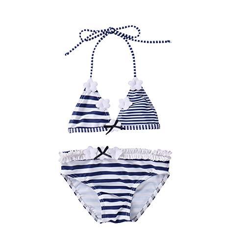 Children Striped Split Swimsuit Set, Girls Sleeveless Backless Deep V-Neck Bikini + Panties for Summer (Dark Blue, 18-24 Months)