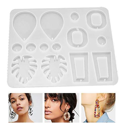 Venhoy Pendientes de resina epoxi, forma de gota retro, estilo espejo, para mujer, bisutería de resina, DIY, pendientes colgantes artesanales