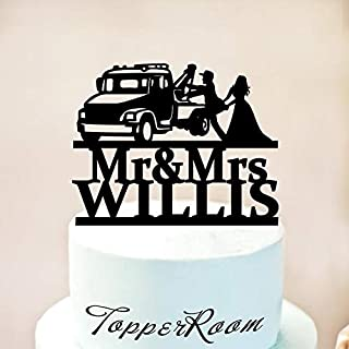 tow truck wedding cake topper