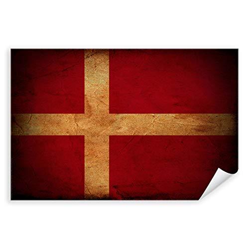 Postereck - 0292 - Vintage Flagge, Fahne Dänemark Kopenhagen - Unterricht Klassenzimmer Schule Wandposter Fotoposter Bilder Wandbild Wandbilder - Poster - DIN A4-21,0 cm x 29,7 cm