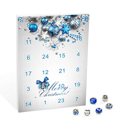 VALIOSA Mode-Schmuck Adventskalender,Merry Christmas' mit Halskette, Armband + 22 individuelle Perlen-Anhänger aus Glas und Metall, blau, das besondere Geschenk für Mädchen und Frauen