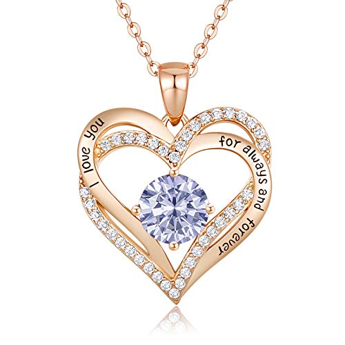 CDE Forever Love Heart Women Necklace 925 Sterling Silver Rose Gold Plated Birthstone Pendant Necklaces for Women with 5A Cubic Zirconia Valentine#039s Jewelry Gift Birthday Gift for Mom Women Wife Girls Her