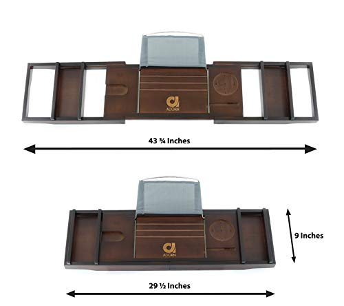 """Adorn Home Essentials Adorn Bamboo Bathtub Caddy Tub Tray   Waterproof/Washable Bath Pillow with Suction Cup   Mahogany Brown   Expands up to 43"""""""