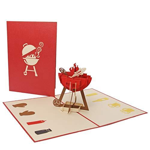 Favour Pop Up lyckönskan/inbjudningskort. Ett filigran konstverk som visas som grill med tillbehör när du öppnar den. röd