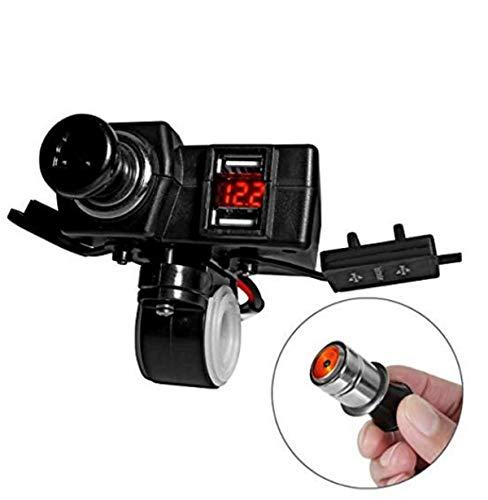 ACBungji Adaptateur Prise Allume Cigare Chargeur 2 Ports USB Numérique LED Voltmètre Tester 12V Installation du Guidon Pour Moto ATV UTV Scooter Téléphone GPS (voltmètre allume-cigare rouge)