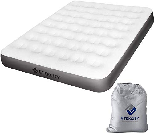 Etekcity Air Bed Inflatable Air Mattress Airbed Double/Queen/King Size Foldable and Flocked Blow up Air Beds for Guest and Outdoor Camping Includes Storage Bag and Repair Patches, 203 x 152.4 x 23cm