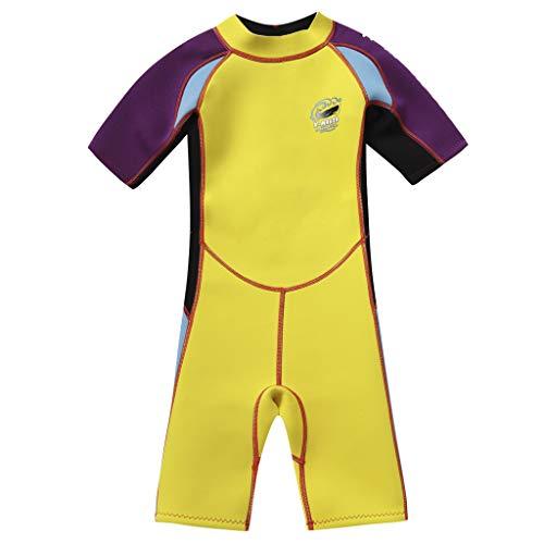 Gogokids Muta Shorty per Bambino Costume da Bagno Neoprene 2.5MM Manica Corta per Sport Acquatici 2-10 Anni