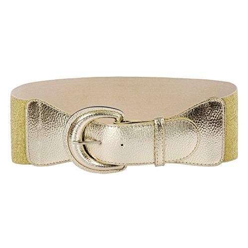 Women's Vintage Wide Elastic Stretch Waist Belt Size XL Black (M,Champagne)