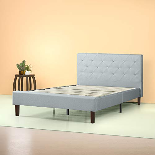 Zinus Upholstered Diamond Stitched Platform Bed in Sage Grey, Queen