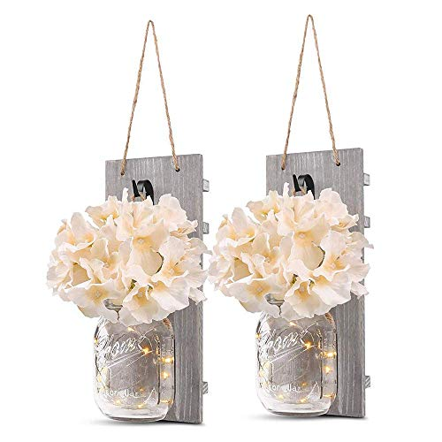 ChangHua1 Cadena de luces LED, 1 par de luces de pared de tarro de albañil vintage con flor artificial, lámpara colgante de estrella LED retro, lámpara de pared para cocina, sala de estar, baño, luz d