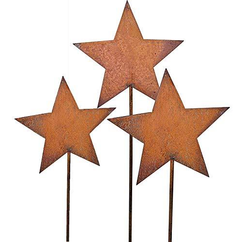 Bornhöft Gartenstecker Stern Engel Hirsch aus Edelrost Metall Rost Gartendekoration Weihnachten rostige Gartendekoration