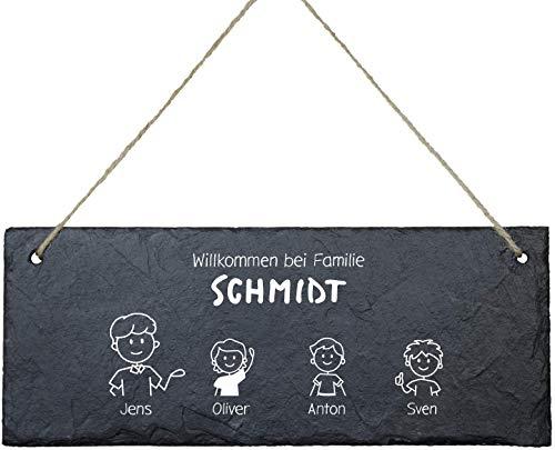 Schiefertafel Willkommen im Comic Stil (4 Figuren): Türschild Bedruckt für Deine Familie - personalisiert mit Familienname + bis zu 5 Namen, persönliche Geschenke, Wand-Deko