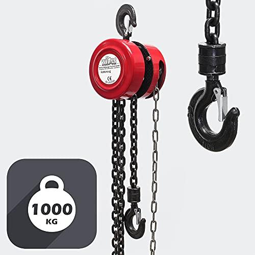 WilTec Palan à chaîne capacité 1000kg Longueur chaîne 3m Le Levage de Charges