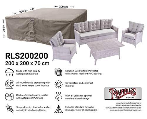 Raffles Covers NW-RLS200200 Beschermkap voor rotan lounge zitgroep 200 x 200 H: 70 cm Tuinmeubelen Lounge meubelset beschermhoes hoes kap dekzeil afdekzeil voor loungeset