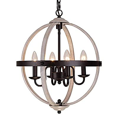"""Q&S Rustic Farmhouse Light Fixture, Industrial Metal Pendant Light, ORB and Oak White Vintage Chandelier, 4 Lights Round Chandelier Fixture for Kitchen Island Dining Room,E12 W16.1""""H 68.9"""""""